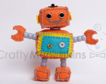 Cute Orange Plush Felt Robot