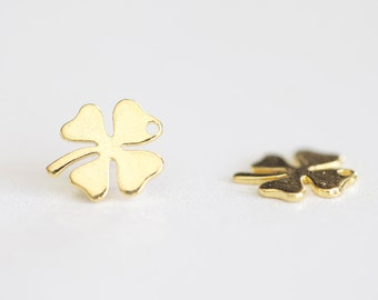 Lucky Clover Vermeil Gold Charm - small four leaf clover charm, 18k gold plated over sterling silver, irish shamrock, quatrefoil charm
