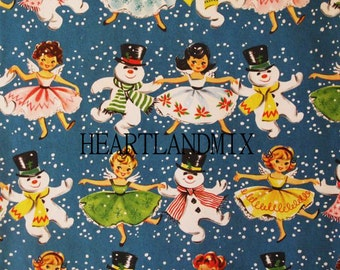 Vintage Holiday Christmas Wrapping Paper Digital Image Angels and Snowmen Download Printable