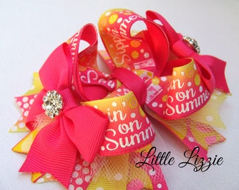 Summer Boutique Bow, pink lemonade, Shocking pink and Lemon, hair bow clip