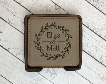 Engraved Coaster Set with holder, Custom Laser Engraved Coasters, Square Coaster Set, Wedding Gift, Anniversary Gift, Housewarming Gift
