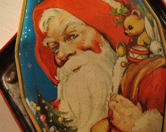 SANTA CHRISTMAS candy tin  Father Christmas  tin England  Horner great graphics lithograph red green antique vintage holiday xmas rare santa