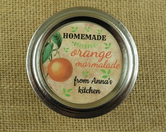 Personalized Canning - Vintage Orange Design - 20 4 Oz  Mason Jars Jars or 12 8 Oz Square Mason Jars With Custom Labels - vfc