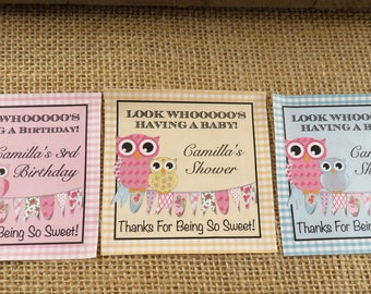 """Personalized Sticker Labels - Camilla Design with Owls and Bunting - 12 3"""" Squares - Wedding Favor - Party Favor - ANY OCCASION"""