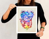 "Fine Art Print - ""Watercolor Colon "",11"" x 14"" ,Anatomy Medical print, Registered Nurse Gift, Nurse Graduation gift, Gastroenterologist gift"