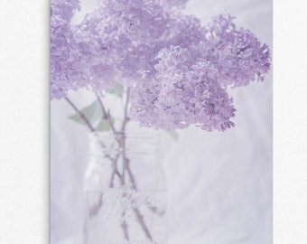 """Pastel Purple and Light Grey Lilac Flower Photography Print, Sizes 8""""x10"""" to 24""""x30"""", Cottage Chic Vertical Wall Art Print, """"Lilacs 2"""""""