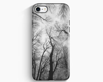 Gray iPhone Case, Black and White Trees Photo, Slim Snap or 2-Layer Tough Case, Available for iPhone 7 / 7 Plus / SE / 6 / 6S / Plus