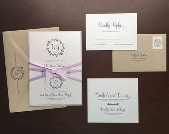 Romatic Rustic Floral Wreath Monogram Thermography Wedding Invitation