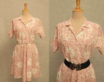 Pink Floral Shirtwaist Dress - 1980s