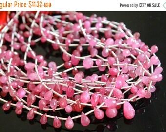 Sale AAA pink sapphire teardrop gemstone briolette- faceted fancy sapphire tear drop-September birthstone briolette- 6 Pcs-5-7 mm No. 641