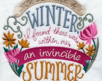 Invincible Summer Embroidered on Made-to-Order Pillow Cover