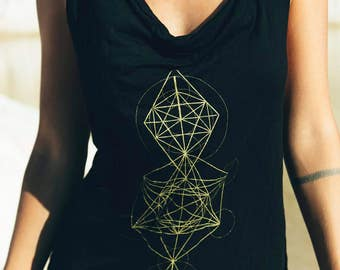 Sacred geometry singlet - Bamboo singlet- Metatrons cube
