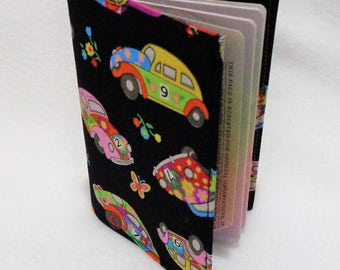 Psychedelic VW Beetle Design Passport Cover - Fabric Passport Holder - Fabric Travel Wallet - Passport Case - Beetle Gift