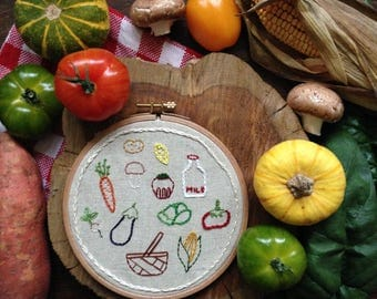 Veggies embroidery homemade vegetables