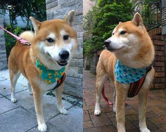 Shiba Inu dog bandana Reversible pet bandana Shiba Inu and Fuji mountain bandana Slide on collar bandana with Shiba Inu dog & Mount Fuji (L)
