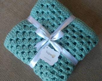 Iced aqua crochet baby blanket, afgan, stroller blanket, baby shower gift