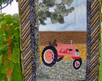 RED VINTAGE TRACTOR, Wall Art,  Quilt,  Western,  Country,  Farm Décor, Home Decor,  Man Cave,  Gift Item