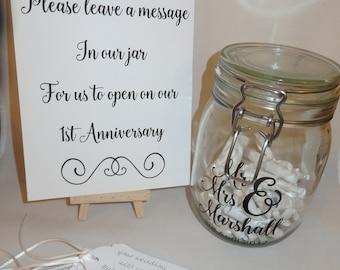 Wedding Message in a Bottle Jar Guest Book kit alternative Personalised