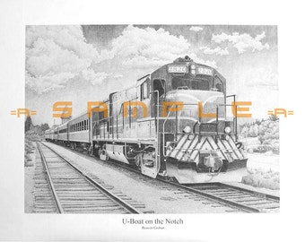 Passenger Train, Conway Scenic, New Hampshire, GE, G E, Diesel Locomotive, Drawing, 8x10, Black and White, Dieselpunk, White Mountains