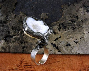 Geode CRYSTAL Quartz Ring • oxidized silver ring raw stone jewelry • Wide STERLING Silver BAND