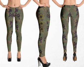Camo Leggings, Camouflage, Sexy Gym Pants, Army Yoga Pants, Military Workout, Urban Street Wear Clothing, Running or Dance