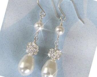 White Pearl Bridal Earrings, Rhinestone and Pearl  Pearl and Rhinestone Wedding Earrings, Rhinestone Earrings, Rhinestone Wedding Jewelry