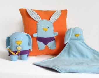 Gift Set for Babies. Decorative throw pillow, Bunny Plush Toy, Bunny Security Blanket, Orange and Blue Set, Cool Gift, Baby Shower Gift Set