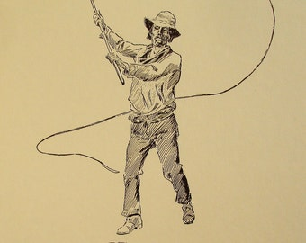 """vintage Charlie Russell Western artist open edition cowboy print """"The Bull Whacker"""" collectible drawings"""