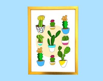 SALE! Colourful and Fun Cactus Illustration Art Print, Wall Decor, Wall Art