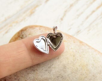 Tiny Sterling Silver Heart Locket Charm  -- One Piece