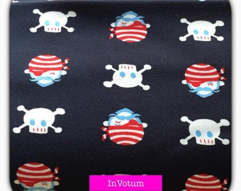 Cotton Jersey, roughened, pirate, skull and crossbones, sweat 50 cm