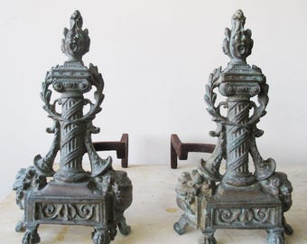 Cast Iron Neoclassical Andirons
