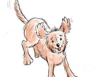 Toby Running - Original Drawing