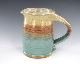 Syrup Pitcher Turquoise White Orange Pottery Creamer Handmade Ready to Ship