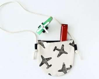Monochromatic Airplane Toddler Purse