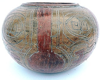 Southwestern Pottery Native American Pottery Red Clay Polished Incised Pot Nilton Para