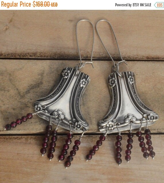 SALE 40% OFF Antique Repoussé Victorian Solid Sterling Silver Earrings 925 Rare Art Nouveaul .925 Natural Garnet Gemstone Drop Dangle Gorham