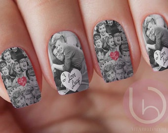 I Love Lucy Nail Decal, Tv show nail art, Nail Design , Lucy and Desi Arnez, Lucy and Ricky, Christmas Gift