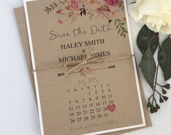 Rustic Save the Date, Floral Save the Date. Bohemian Save the Date, Watercolour, Vintage, Kraft, Pink, blush pink