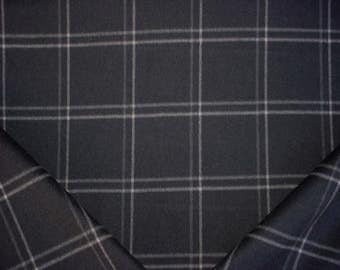 4-3/4 yards Ralph Lauren LCF64444F Harrison Tattersal Charcoal - Black Wool Tartan Plaid Upholstery Drapery Fabric - Free Shipping