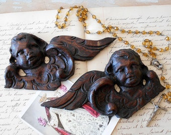 Antique Bas-Relief Wood Carved Angel Pair / Black Forest Wooden Cherub Appliques