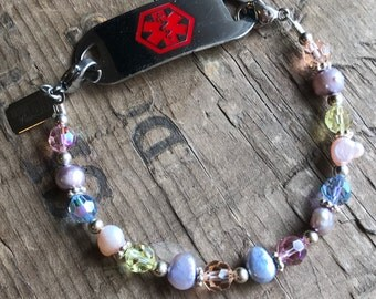 Medical Bracelet Pastel Pearls, Crystals & Sterling Silver- Includes FREE Medical ID tag with Engraving