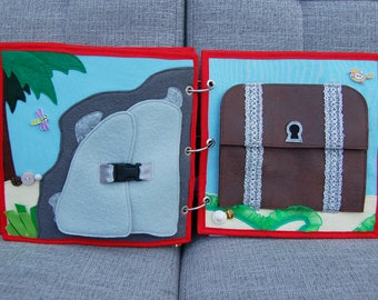 Piratebook - 2 Quiet book pages Treasure cave and treasure chest PATTERN & TUTORIAL