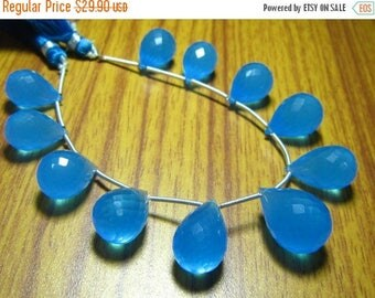 "38%OFF- Blue Synthetic Chalcedony Faceted Tear Drops- 8"" Strand -Stones measure- 10x16-11x18mm"