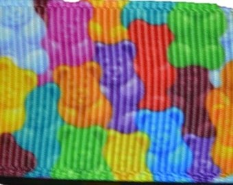 """Jelly Teddy Bears Candy Colorful 1.0"""" Grosgrain Ribbon for Hair Bows, Kids Crafts, Scrapbooks, Cards Making"""