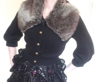 Betsey Johnson 3/4 Sleeve Knit with Faux Fur - S/P