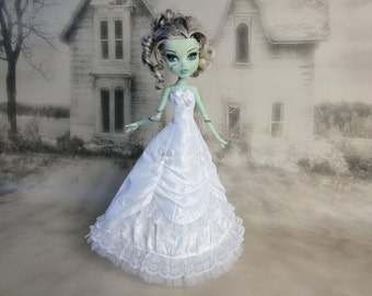 Long white  victorian dress hand made fits Monster High doll