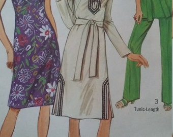 UNCUT and FF Pattern Pieces Vintage Simplicity 9256 Sewing Pattern Size 14 Dress or Tunic, Pants and Sash