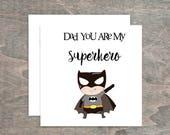 Superhero Card, Personalised Birthday Card, Father's Day Card, Boy's Card, Greeting Card, Fan Art Birthday, Best Dad, Birthday Card,