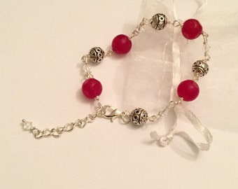 Striking pink jade and Swarovski crystal bracelet